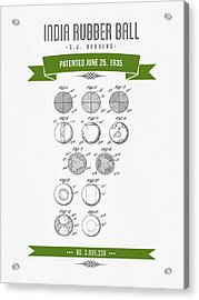 1935 India Rubber Ball Patent Drawing - Retro Green Acrylic Print by Aged Pixel