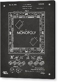 1935 Monopoly Game Board Patent Artwork - Gray Acrylic Print