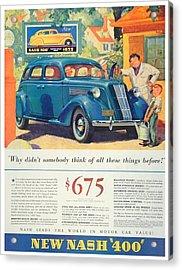 1936 - Nash Sedan Automobile Advertisement - Color Acrylic Print