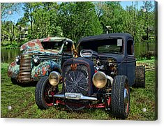 Acrylic Print featuring the photograph 1936 Chevrolet And 1939 Chevrolet Rat Rod Pickups by Tim McCullough