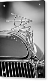 1936 Ford Deluxe Roadster Hood Ornament 2 Acrylic Print by Jill Reger