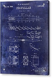 1936 Propeller Patent Drawing Blue Acrylic Print