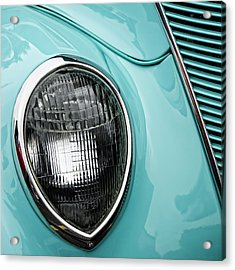 1937 Ford Sedan Slantback Square Acrylic Print by Carol Leigh