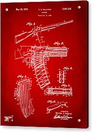 1937 Police Remington Model 8 Magazine Patent Artwork - Red Acrylic Print by Nikki Marie Smith