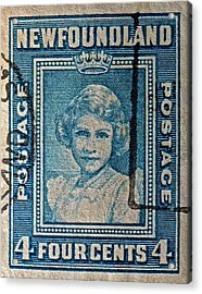 1938 Queen Elizabeth II Newfoundland Stamp Acrylic Print