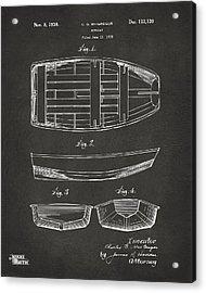 1938 Rowboat Patent Artwork - Gray Acrylic Print by Nikki Marie Smith