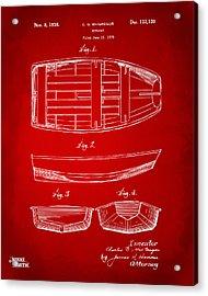 1938 Rowboat Patent Artwork - Red Acrylic Print