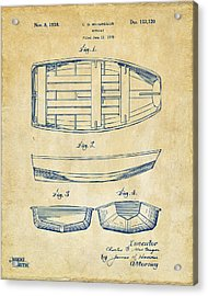 1938 Rowboat Patent Artwork - Vintage Acrylic Print