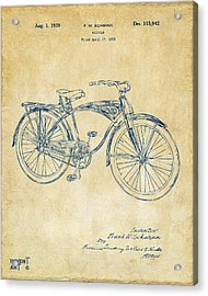 1939 Schwinn Bicycle Patent Artwork Vintage Acrylic Print