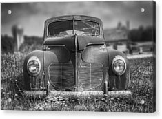 1940 Desoto Deluxe Black And White Acrylic Print by Scott Norris