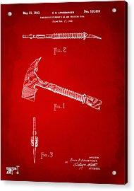 1940 Firemans Axe Artwork Red Acrylic Print