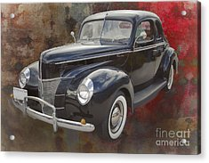 1940 Ford Deluxe Photograph Of Classic Car Painting In Color 319 Acrylic Print