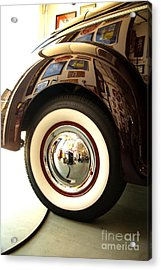 Acrylic Print featuring the photograph Classic Maroon 1940 Ford Rear Fender And Wheel   by Jerry Cowart
