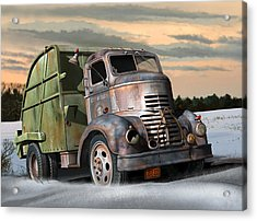Acrylic Print featuring the digital art 1940 Gmc Garbage Truck by Stuart Swartz
