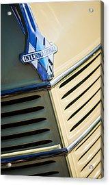 1940 International D-2 Station Wagon Grille Emblem Acrylic Print by Jill Reger