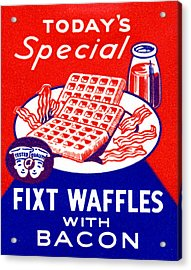 1940 Waffles With Bacon Acrylic Print by Historic Image