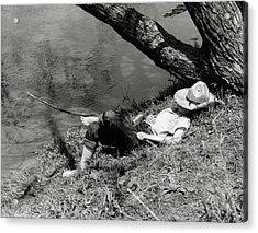 1940s Barefoot Boy Sleeping Under Tree Acrylic Print