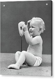 1940s Blond Baby Girl Holding Vanity Acrylic Print