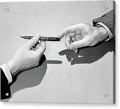 1940s Fountain Pen Being Passed Acrylic Print