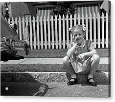 1940s Girl Sitting On Curb With Tooth Acrylic Print