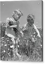 1940s Little Blonde Girl And Baby Boy Acrylic Print