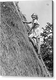 1940s Smiling Blond Girl Looking Acrylic Print