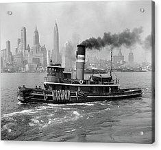 1940s Steam Engine Tugboat On Hudson Acrylic Print
