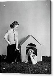 1940s Young Teenage Couple Arguing Girl Acrylic Print
