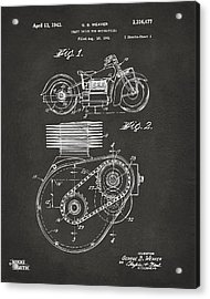 1941 Indian Motorcycle Patent Artwork - Gray Acrylic Print