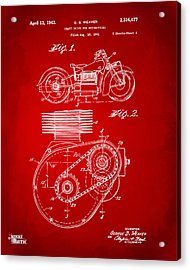 1941 Indian Motorcycle Patent Artwork - Red Acrylic Print