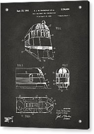 1941 Zephyr Train Patent Gray Acrylic Print by Nikki Marie Smith