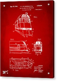 1941 Zephyr Train Patent Red Acrylic Print by Nikki Marie Smith