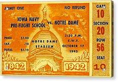 1942 Football Ticket Notre Dame Vs Iowa Navy Pre-flight Acrylic Print