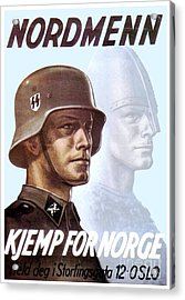 1943 - German Waffen Ss Recruitment Poster - Norway - Color Acrylic Print