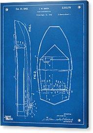 1943 Chris Craft Boat Patent Blueprint Acrylic Print by Nikki Marie Smith