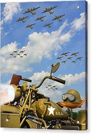 1943 Harley Wfc With B - 24 Liberators 2c Acrylic Print