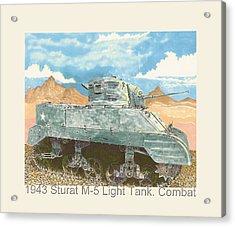1943 Stuart M-5 Light Tank Combat Acrylic Print by Jack Pumphrey