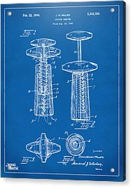 1944 Wine Corkscrew Patent Artwork - Blueprint Acrylic Print by Nikki Marie Smith