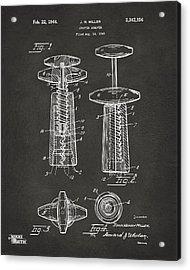 1944 Wine Corkscrew Patent Artwork - Gray Acrylic Print by Nikki Marie Smith