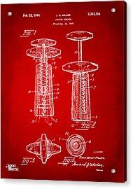 1944 Wine Corkscrew Patent Artwork - Red Acrylic Print by Nikki Marie Smith
