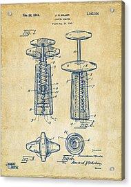 1944 Wine Corkscrew Patent Artwork - Vintage Acrylic Print by Nikki Marie Smith