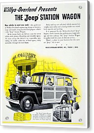 1946 - Willys Overland Jeep Station Wagon Advertisement - Color Acrylic Print