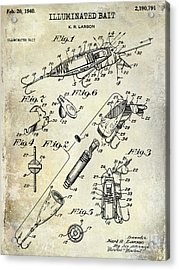 1940 Illuminated Bait Patent Drawing Acrylic Print by Jon Neidert