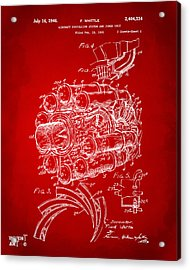 1946 Jet Aircraft Propulsion Patent Artwork - Red Acrylic Print by Nikki Marie Smith