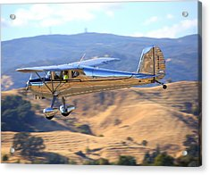 Acrylic Print featuring the photograph 1947 Cessna 140 Fly-by N4151n by John King