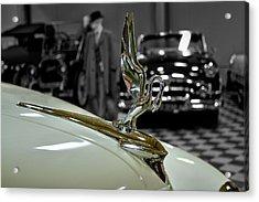 1947 Packard Hood Ornimate Acrylic Print by Michael Gordon