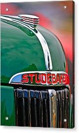 1947 Studebaker M5 Pickup Truck Grill Emblem - Hood Ornament Acrylic Print by Jill Reger