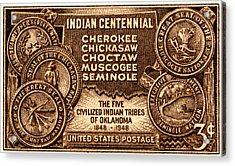 1948 Oklahoma Indian Centennial Stamp  Acrylic Print