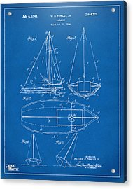 1948 Sailboat Patent Artwork - Blueprint Acrylic Print by Nikki Marie Smith