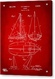 1948 Sailboat Patent Artwork - Red Acrylic Print by Nikki Marie Smith